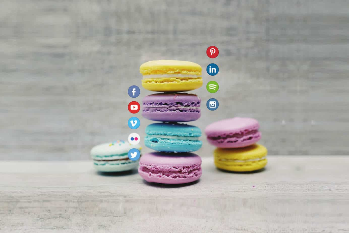 A Design agency image of macaroons with social media logos on