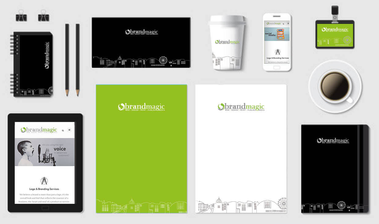 An image of various items displaying graphic design and Brand Magic branding.